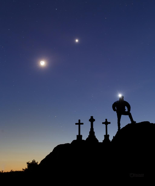 Moon, Venus, and Three crosses