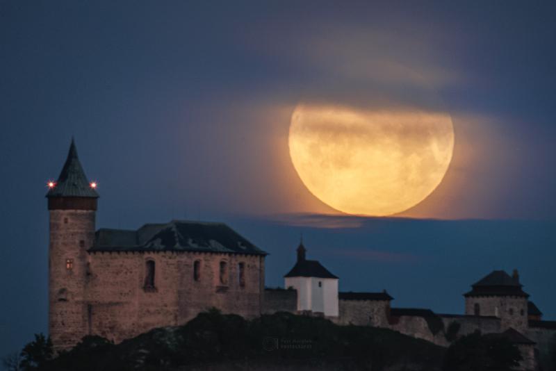 Flower Moon over Kunetice Castle