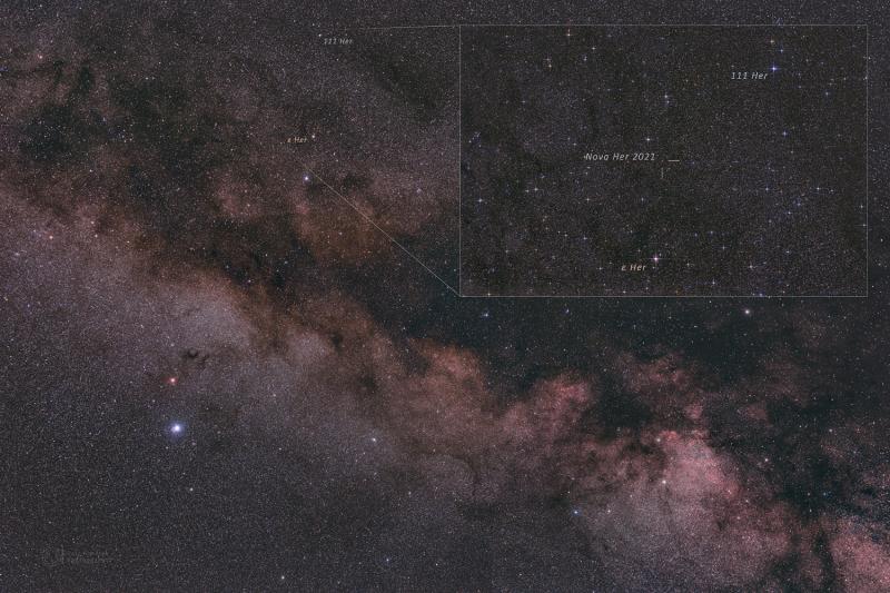 Nova in Hercules 2021 - Annotated