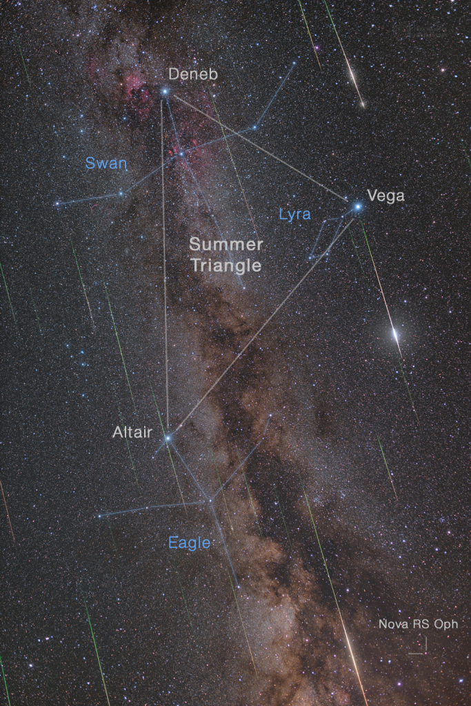 Perseids against the Milky Way - Annotated